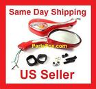 8mm Pair of RED Mirrors  blinkers Scooter Moped Go Kart 50cc 125cc 150cc 250cc