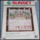 Vtg Sunset NATIVITY ADVENT CALENDAR Gallery Crewel Christmas Kit Ruth Morehead