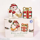 NEW Fitz and Floyd Holiday Plaid Christmas Snowman Gift Salt and Pepper Shakers