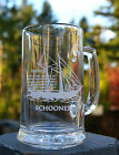 Schooner Sailing Vessel Sail Boat Etched Drinking Glass Mug Cup Beer Stein