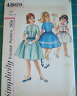 Vintage Simplicity Girls Dress Clothing Sewing Pattern Size 14 50s and 60s