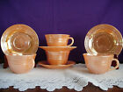 FIRE KING FIREKING PEACH LUSTRE 3-BANDED FOUR CUPS AND FOUR SAUCERS BEAUTIFUL