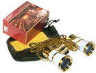 HQRP Opera Theater Binocular Glasses White pearl Gold Trim with Necklace Chain