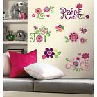 New LOVE JOY PEACE WALL DECALS Flowers Stickers Girls Deco Flower Bedroom Decor