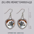 LHASA APSO SHIH TZU DOG HEART EARRINGS Ornate Tibetan Silver