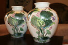 Vintage Hand Painted MACAU H.F.P. Porcelain Ware VASE Set/2 - Asian Collectible
