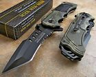 TAC-FORCE Speedster Assisted Opening MODIFIED TANTO Digital OD Green CAMO Knife