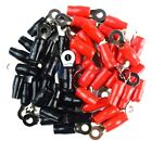 50 pcs High Quality Scosche Ring Terminals 4 gauge 5/16 Hole 25 Red 25 Black