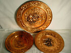 SOLID COPPER PLATES SET OF 3 OLD WORLD PUB STYLE MADE IN HOLLAND VERY GOOD COND