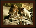 English Print Picture Jack Russell Terrier Dog Cat  Little Girl Pray Art Poster
