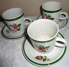 CHRISTMAS 3 CUPS AND SAUCERS NOEL by YAMAKA STONEWARE # SY6243