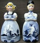 Dutch Boy and Girl Delft Blue Windmill Scene Ceramic Salt Pepper Shakers Japan