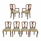 6 Vtg Hollywood Regency French Provincial Solid Walnut Carved Dining Room Chairs
