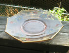 DEPRESSION GLASS DISH WITH OLD DECALS OF FLOWERS PINK DISH 8 SIDED OCTAGON