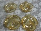 Vintage Indiana Gold Carnival Glass Divided Candy Condiment Dish Set Of 4