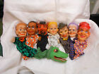 vtg GERMAN puppets ALLIGATOR/DEVIL/JESTER/young blonde girl/old woman/dark man