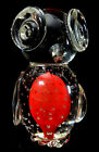 Murano Art Glass Owl Clear Red Center With Bullicante bubbles, Hand Blown