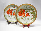 Vintage JSV Germany Porcelain Decorative Plates Set of 2 Bright Red Flowers Gold