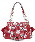 RED RHINESTONE BLING NEW CUTE CHEETAH ANIMAL PRINT FLOWER WESTERN PURSE CFPRD