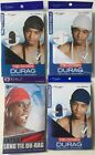 Set of 5 Tie Down Durag with Tails Black White Navy Blue Red Green Doorag