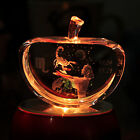 Hot 3D Laser Etched Crystal Scorpio Apple Paperweight LED Stand Home Decoration