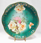Vintage ZS & Co Bavaria Porcelain Cake Plate Charger Green w/ Pink Roses Flowers