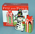 FITZ & FLOYD FROSTY'S FROLIC SNOWMAN Salt & Pepper Shakers Christmas NEW IN BOX!