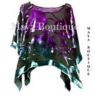 Top Silk Burnout Velvet MAYA PONCHO Stained Glass Collection Teal  Purple