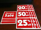 Clearance Sale and Percentage  Off Sign Bundle 16 Signs