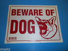 NEW FORESTER RED  WHITE PLASTIC BEWARE OF DOG SIGN FREE SHIPPING