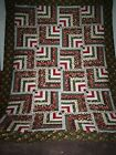 Nice Scrappy Bold Modified Log Cabin Strip Pattern Lap Crib Twin Bed Quilt Top