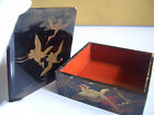 Japanese old antique vintage small box crane bird written Delicate pattern in re