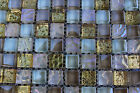 10 SHEET White Pink Gold Mosaic Tile Mesh Glass Stainless Steel Bathroom Kitchen