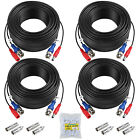 White New 4X 100ft BNC CCTV Video Power Cable CCD Security Camera DVR Wire Cord