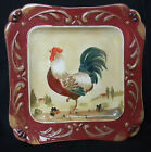 Certified International Pamela Gladding Large Embossed Square Rooster Plate