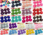 DIY 10 100PCS Satin Ribbon Flower with Crystal Bead Appliques Craft Trim