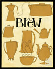 Brew Pots in Yellow Art Poster Print by Dan Dipaolo, 8x10