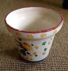 Vintage Signed Hand Painted Italian Flower Herb Pot Planter Jardiniere W/ Birds
