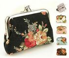 Women Flower Floral Coin Bag Small Double Frame 2 Pocket Purse Wallet Snap Clasp