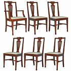 Set of 6 Vintage Federal Sheraton Style Carved Solid Mahogany Dining Room Chairs