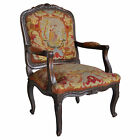 Vintage French Louis XV Style Carved Walnut Needlepoint Bergere Open Arm Chair