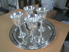 SILVER Plated F.B. Rogers Tray & EP Wine GOBLETS- Set of 4 - Made in Italy