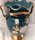 ANTIQUE VINTAGE BEAUTIFUL VASE ART DECO Hand Decorated HeavyGOLD Jade Geen