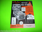 ALL STARS By CHICAGO COIN 1968 ORIGINAL NOS BASEBALL PINBALL MACHINE SALES FLYER