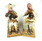 Vintage Mexican Folk Art Paper Mache Man And Woman Figurines Figures