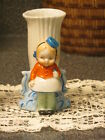 1940s Art Deco Small Porcelain Vase with Google Eyed Girl Figure - Made in Japan
