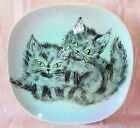 Hand Made Painted Cat Kitten Plate Art Studio Pottery Ceramic Adorable Felines