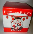 Fitz and Floyd Cheers Pillar Candle Holder Snowman Christmas Holiday Decor