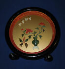 Vintage Chinese Asian Jade And Coral Carving In Round Black Lacquer Shadow Box
