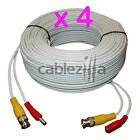 Lot4 Security Camera White Video Power Siamese Pre-Made Cable CCTV BNC RCA 100FT